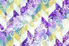 Teste padrão abstrato geométrico com o ornamento floral do estilo de Zentangle Foto de Stock