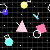 Teste padrão abstrato geométrico sem emenda do vetor Memphis Style, 80s Foto de Stock
