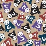 Teste padrão abstrato sem emenda com as pandas bonitos desenhados à mão Arrelia usada ilustração royalty free