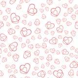 Teste padrão abstrato sem emenda do vetor Corações vermelhos no fundo branco Fotografia de Stock Royalty Free