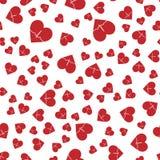 Teste padrão abstrato sem emenda do vetor Corações vermelhos no fundo branco Foto de Stock