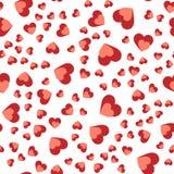 Teste padrão abstrato sem emenda do vetor Corações vermelhos no fundo branco Imagens de Stock
