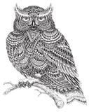 Teste padrão abstrato tirado mão Owl Illustration Fotos de Stock Royalty Free