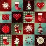 Teste padrão acolhedor do Natal nos retalhos Imagens de Stock Royalty Free