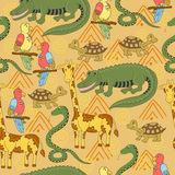 Teste padrão africano dos animais Teste padrão sem emenda com crocodilo, tartaruga, serpente, papagaio, girafa Imagem de Stock