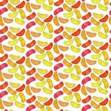 Teste padrão alaranjado bonito suculento maduro saboroso saboroso delicioso bonito colorido das fatias da laranja, do mandarino e ilustração stock