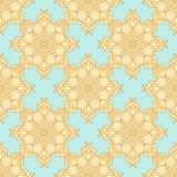 Teste padrão Amarelo-bege em um fundo azul pastel Imagem de Stock Royalty Free