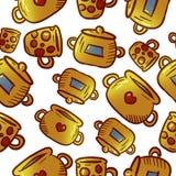 Teste padrão amarelo bonito de ilustrações do kitchenware e dos utensílios fotografia de stock