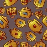 Teste padrão amarelo bonito de ilustrações do kitchenware e dos utensílios foto de stock royalty free