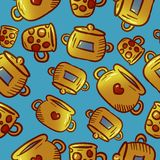 Teste padrão amarelo bonito de ilustrações do kitchenware e dos utensílios fotografia de stock royalty free