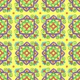 Teste padrão amarelo desenhado à mão com elementos florais ilustração royalty free