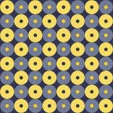 Teste padrão amarelo e azul dos círculos Fotografia de Stock