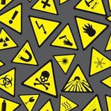 Teste padrão amarelo e preto do perigo e dos sinais de aviso Fotos de Stock Royalty Free