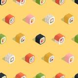Teste padrão amarelo isométrico do sushi Fotografia de Stock