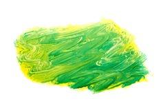 Teste padrão amarelo verde da pincelada da aquarela isolado no fundo branco imagens de stock royalty free