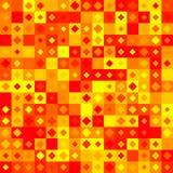 Teste padrão amarelo, vermelho e alaranjado abstrato da telha Fundo telhado simples da textura Ilustração sem emenda verificada Imagem de Stock Royalty Free