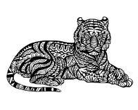 Teste padrão animal étnico do detalhe da garatuja - Tiger Zentangle Illustration ilustração do vetor