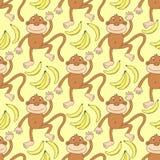 Teste padrão animal engraçado com macaco e bananas Fotografia de Stock Royalty Free