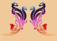Teste padrão antigo chinês de phoenix Fotos de Stock Royalty Free