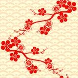 Teste padrão asiático Japonês, chineses Cherry Blossom Ornamento com motivos orientais Vetor imagem de stock