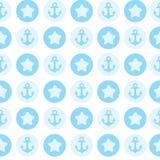 Teste padrão azul a âncora para a matéria têxtil ou o cartão ilustração royalty free