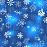 Teste padrão azul com flocos de neve Imagens de Stock Royalty Free