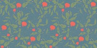 Teste padrão azul com tomatoe e folha ilustração royalty free