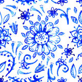 Teste padrão azul da aquarela Foto de Stock