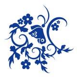 Teste padrão azul da flor e de borboleta Fotografia de Stock Royalty Free