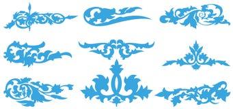 Teste padrão azul da silhueta da flor Ilustração Stock