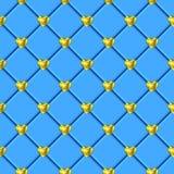 Teste padrão azul da telha do coração do ouro dos Valentim Imagem de Stock Royalty Free