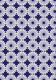 Teste padrão azul e branco da repetição de Kalaidoscope para o papel de parede Imagem de Stock