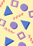 Teste padrão azul e cor-de-rosa abstrato do estilo de 80s memphis Imagem de Stock