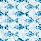 Teste padrão azul geométrico dos peixes Imagens de Stock