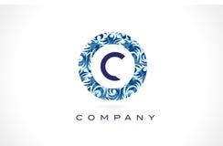 Teste padrão azul Logo Design da letra C ilustração stock