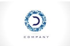 Teste padrão azul Logo Design da letra D ilustração royalty free