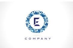 Teste padrão azul Logo Design da letra E ilustração royalty free