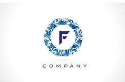 Teste padrão azul Logo Design da letra F ilustração royalty free