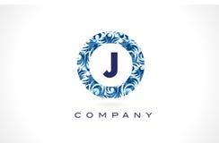 Teste padrão azul Logo Design da letra J ilustração royalty free