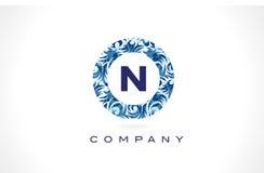 Teste padrão azul Logo Design da letra N ilustração royalty free
