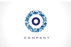 Teste padrão azul Logo Design da letra O ilustração royalty free
