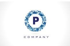 Teste padrão azul Logo Design da letra P ilustração royalty free