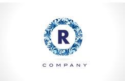 Teste padrão azul Logo Design da letra R ilustração royalty free