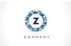 Teste padrão azul Logo Design da letra Z ilustração stock