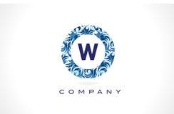 Teste padrão azul Logo Design de W da letra ilustração stock