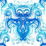 Teste padrão azul ondulado pintado com aquarela Fotografia de Stock Royalty Free