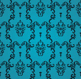 Teste padrão azul sem emenda do vetor com ornamento da arte Elementos do vintage para o projeto no estilo vitoriano Tracery decor Imagens de Stock