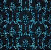 Teste padrão azul sem emenda do vetor com ornamento da arte Elementos do vintage para o projeto no estilo vitoriano Tracery decor Fotos de Stock Royalty Free
