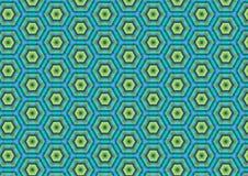 Teste padrão azul verde do hexágono Imagens de Stock