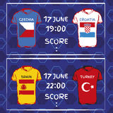 Teste padrão, bandeiras, data e hora para o campeonato do futebol n Foto de Stock